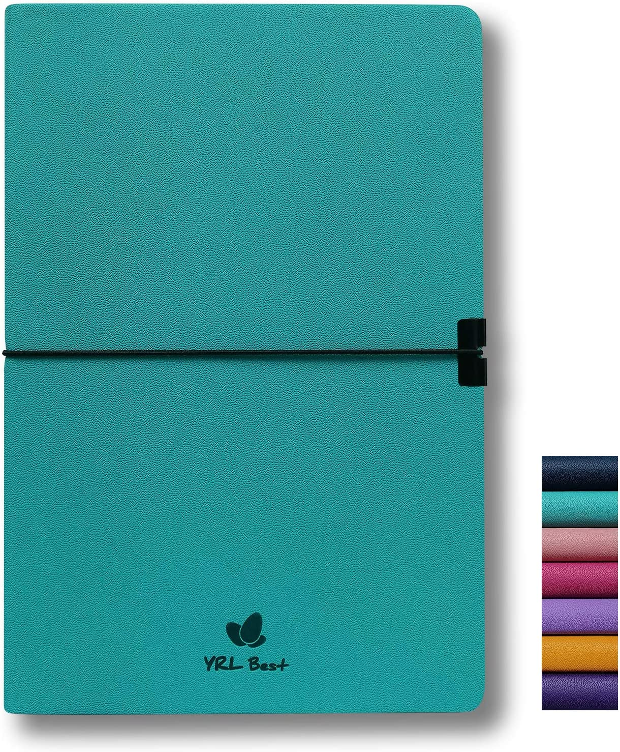 "YRL Best Writing Journal Notebook, College Ruled/Lined, A5 Size, 5.8x8.3"", Fine PU Leather, 160 Pages of Premium Thick Paper, Sewn Bound, Inner Pocket, Elastic Band, Ribbon Bookmark, Lays Flat, Teal"