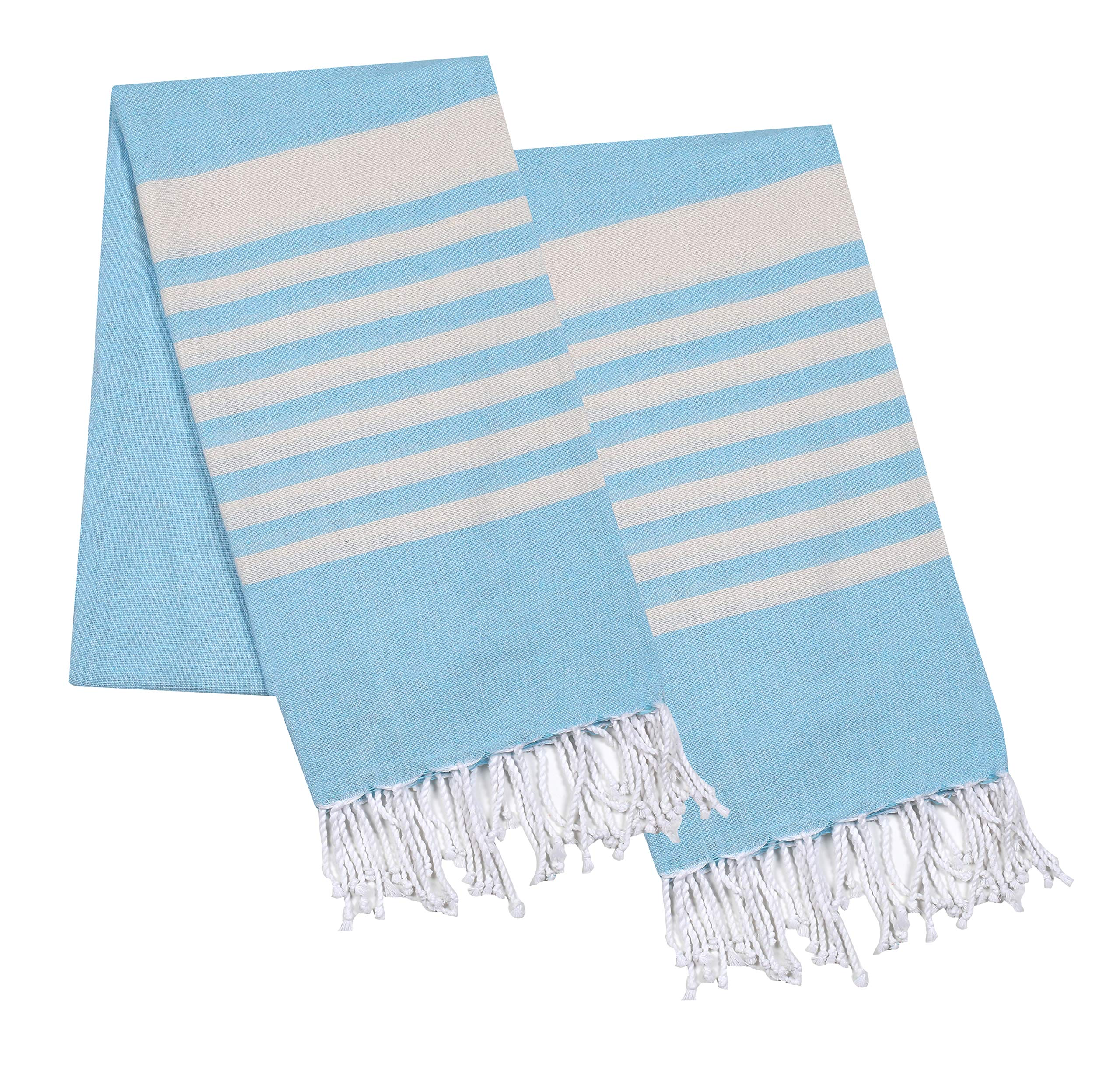 Thin Beach Towel in Cotton Fabric with Quick Dry Absorbent Quality,Peshtemal Beach Towel,Pool Blanket,Fouta Beach Towels,Gym Pool Blanket Fouta Towels,- Allover Design 39x70 -Sky Blue White.Set of 2 by Life By cotton