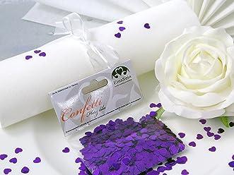 EinsSein 14g Streudeko Konfetti Hochzeit Herz klein lila metallisch Tischdeko Hochzeit