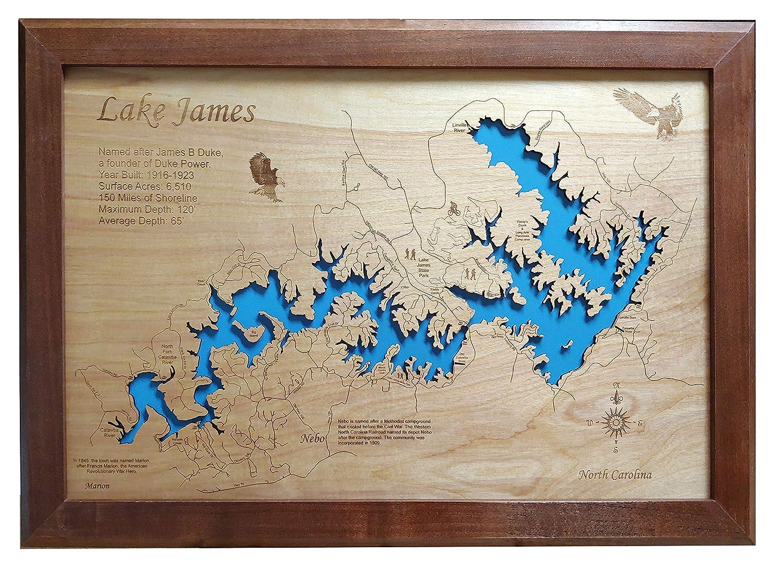 Amazon.com: Lake James, North Carolina: Framed Wood Map Wall ... on
