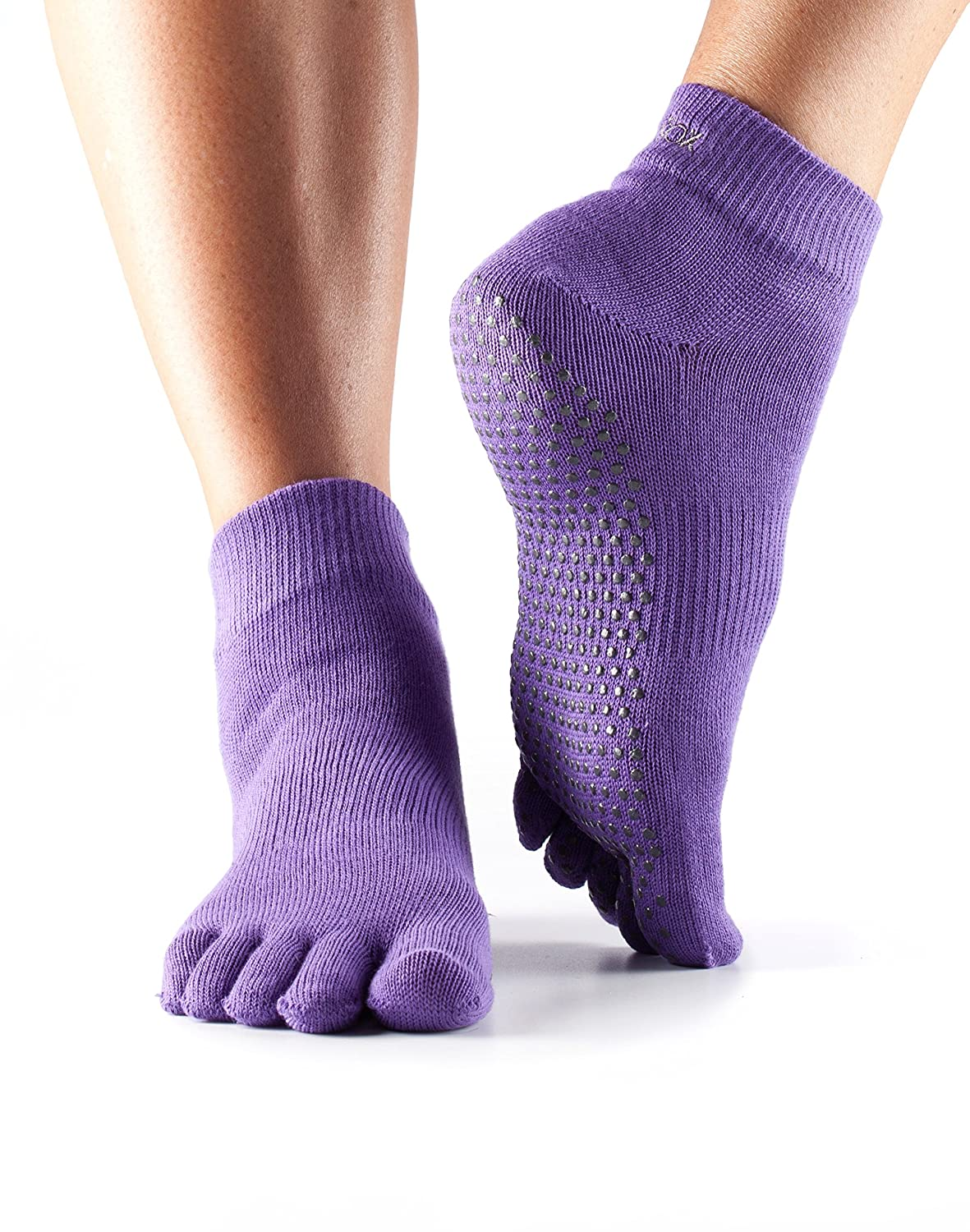 ToeSox Women's Grip Full Toe Ankle Socks, X-Small, Light Purple