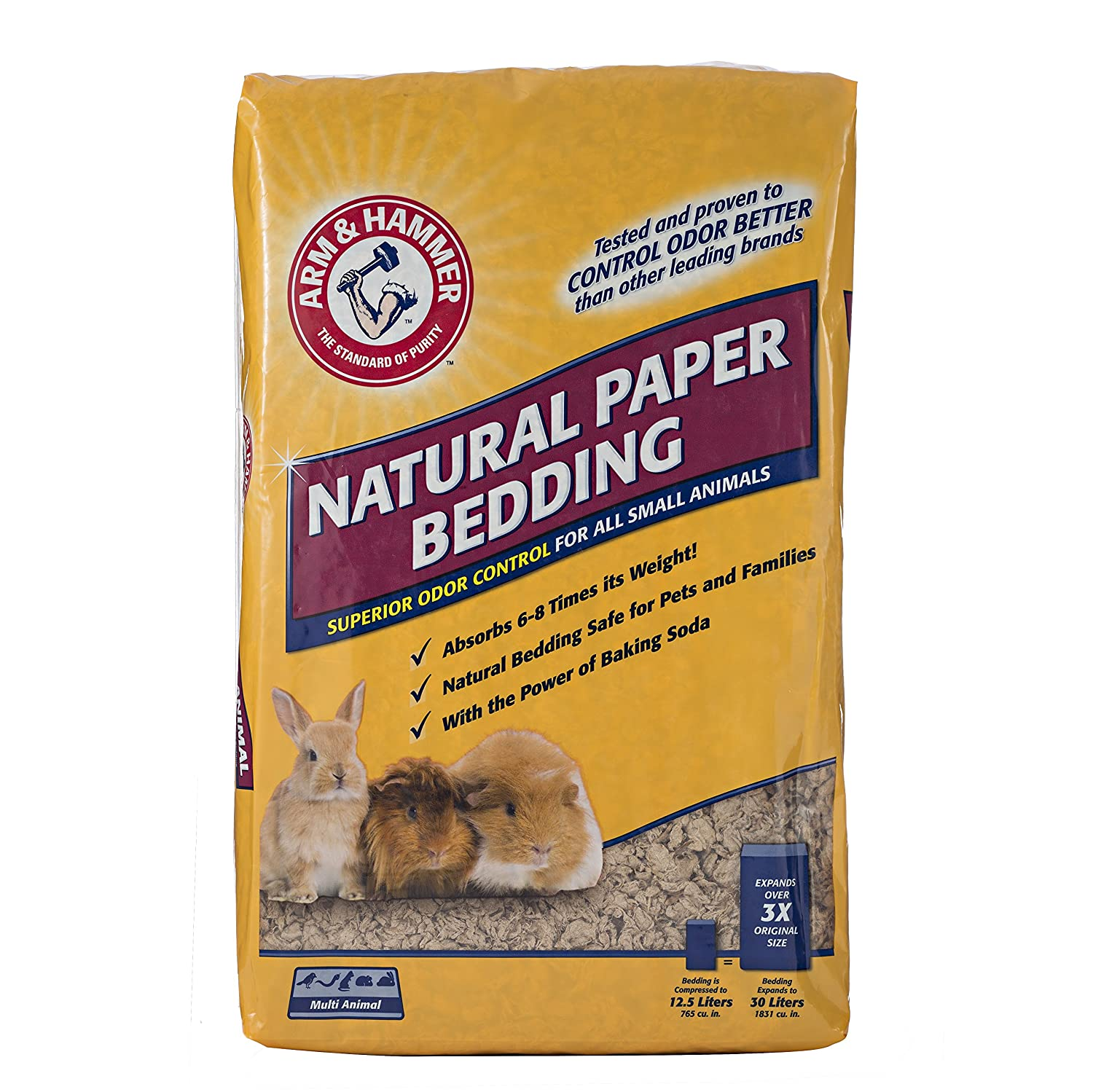 Arm & Hammer Natural Paper Bedding for Small Animal Cages | Absorbs Urine & Eliminates Odor with The Power of Baking Soda | for Guinea Pigs, Hamsters, Rabbits & All Small Animals