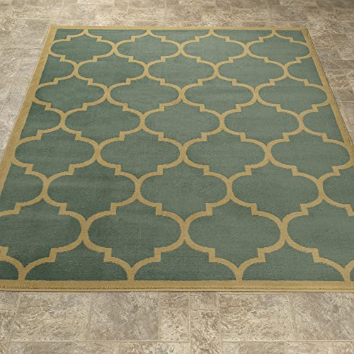 Sweet Home Stores Clifton Collection Sage Green Moroccan Trellis Design 7'10″X9'10″ Area Rug