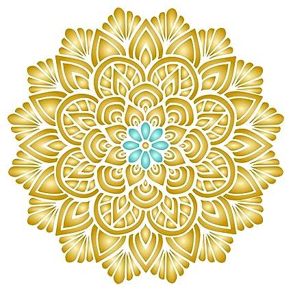 amazon com lotus mandala stencil 10 x 10 inch m reusable