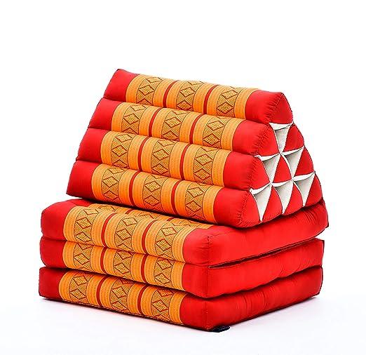 Leewadee Colchón Tailandés Alfombra Plegable con Cojín Triangular Cojín De Suelo Cojín De Lectura Colchoneta De Relajación Orgánico Naturalmente ...