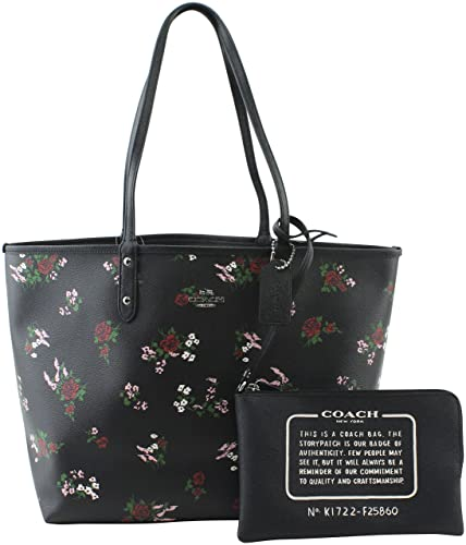6c37f92b67 COACH REVERSIBLE CITY TOTE (Black Multi Floral)
