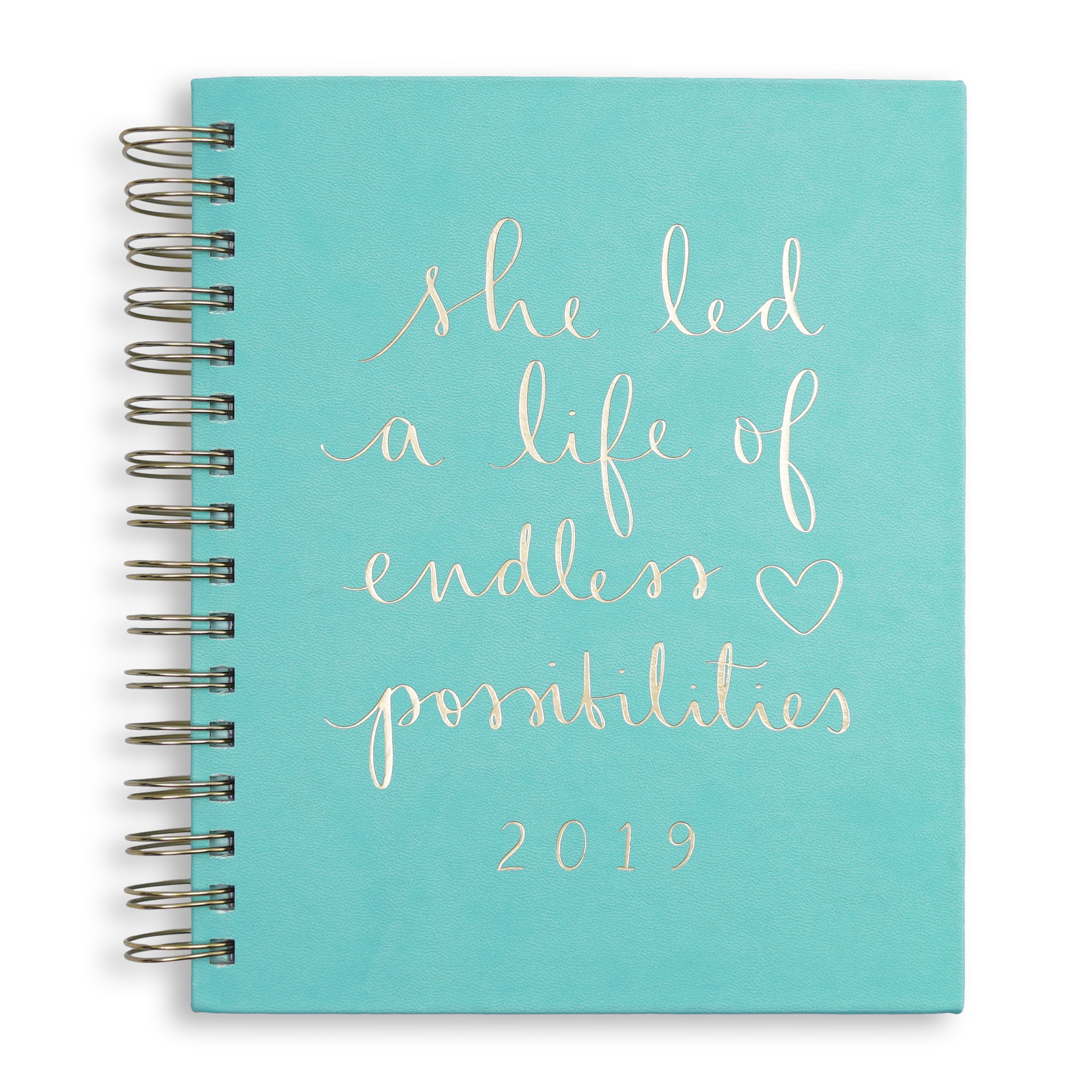 2018-2019 Eccolo Spiral Agenda Planner, Turquoise''She Led a Life'' Hardcover, Weekly & Monthly Views, 18 Months, Sticker Sheets, Full Color Graphics and Quotes. 7.25 x 8.75
