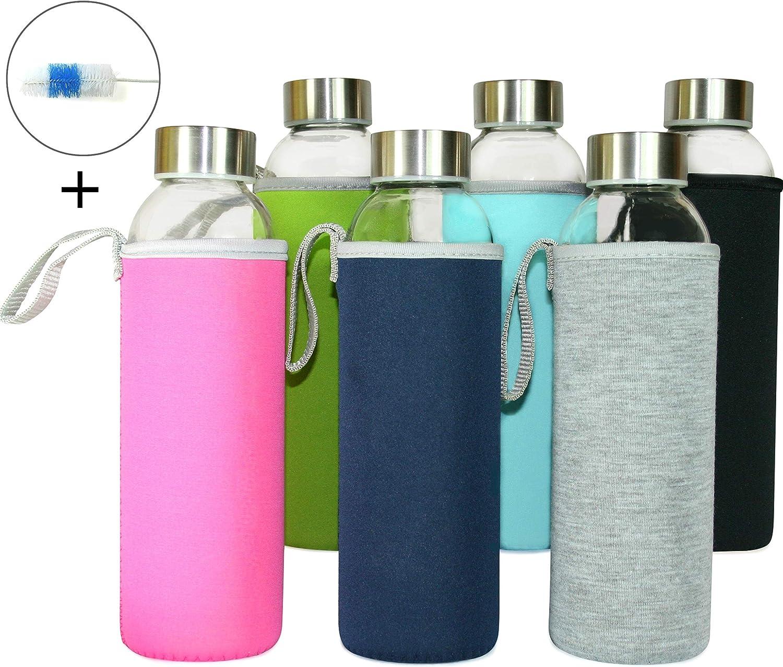 Wenburg Botellas de Vidrio 500 ML, 6 Piezas en Juego + Cepillo de Limpieza, cantimploras/Botellas de Cristal para Agua, zumos, té, Batidos. Adecuado para Adultos, niños