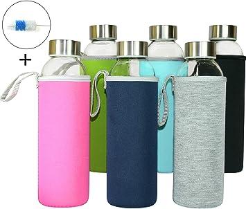 Wenburg Botellas de Vidrio 500 ml, 6 Piezas en Juego + Cepillo de Limpieza, cantimploras/Botellas de Cristal para Agua, zumos, té. Adecuado para Adultos, niños (con Fundas Protectoras, 0,5 l): Amazon.es: Deportes