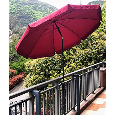 AMMSUN 6.5 ft Patio Umbrella Market Table Umbrella Tilt Steel Pole UPF50+ Protection, Great for Outdoor Garden Backyard (Red) : Garden & Outdoor