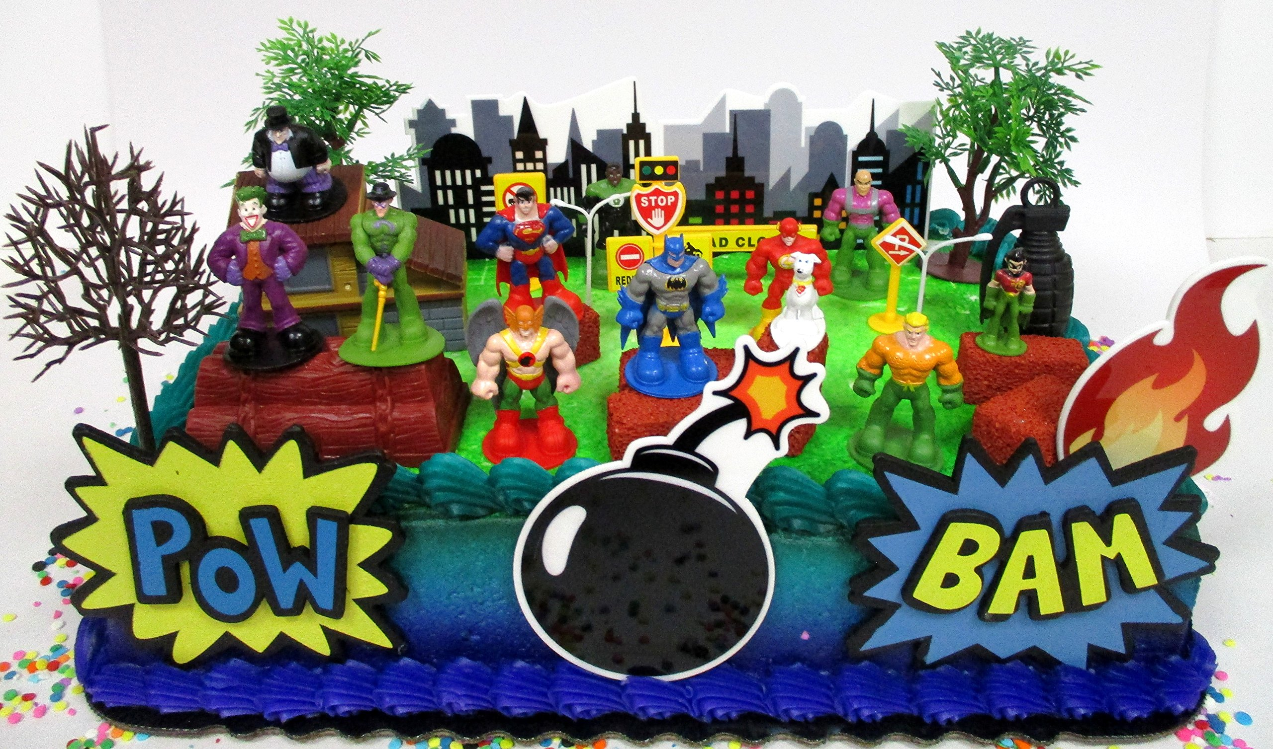 DC Comic Super Friends Birthday Cake Topper Set Featuring Super Hero Crime Fighters and Villains with Decorative Accessories by Kitoo (Image #1)