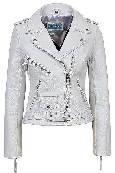 Traje de neopreno para mujer BRANDO BLANCO Classic Cuero de vaca auténtica con una chaqueta de cuero para moto: Amazon.es: Ropa y accesorios
