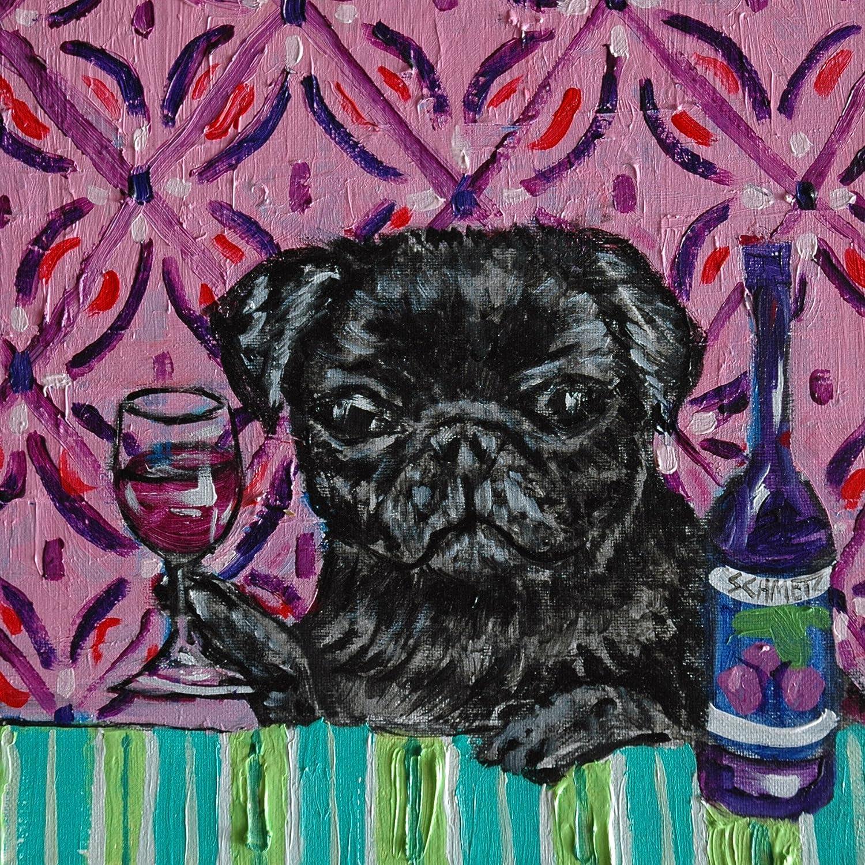 black Pug at the Wine Bar Dog art tile coaster gift