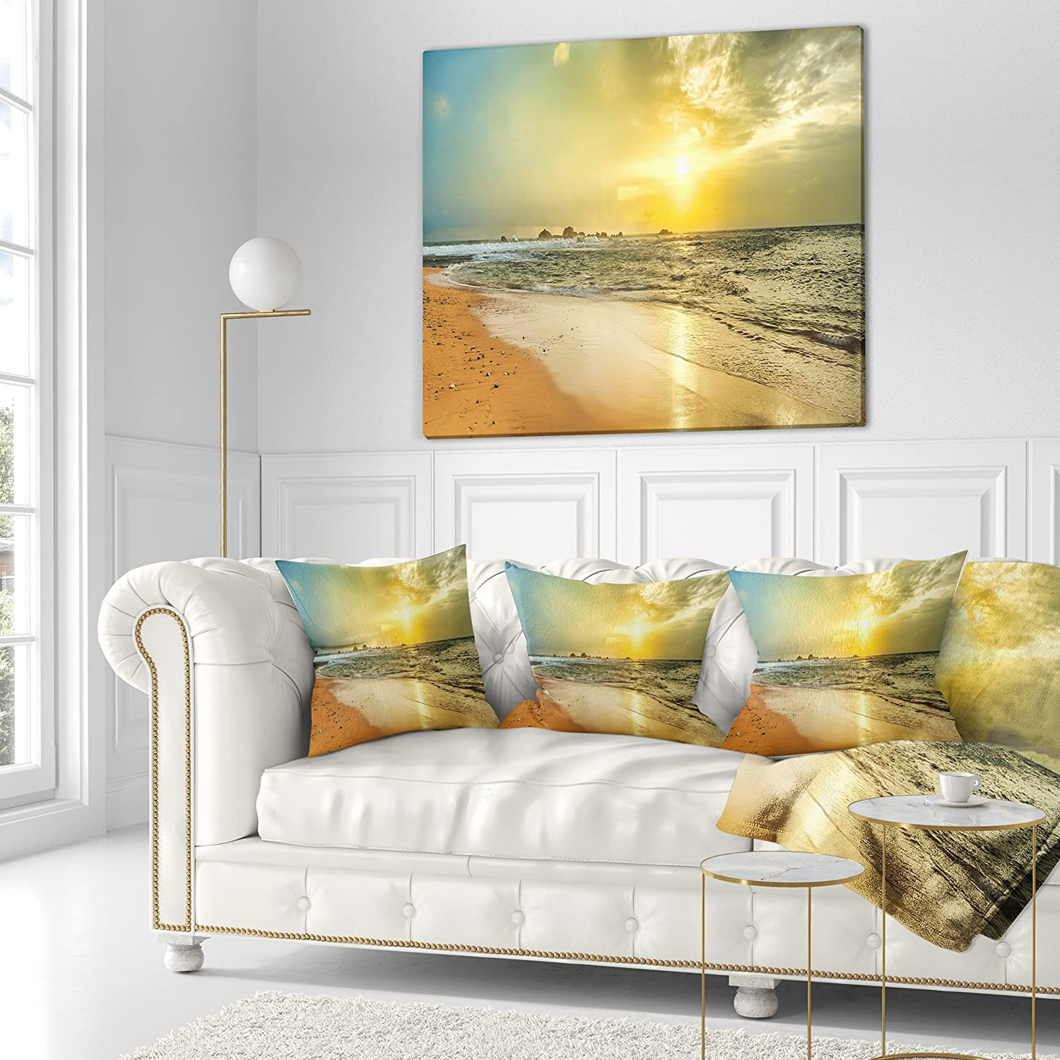 Pillow Insert 26 in x 26 in Designart CU11565-26-26 Bright Yellow Sunset Beach Panorama Modern Seascape Throw Cushion Pillow Cover for Living Room Sofa Cushion Cover Printed on Both Side