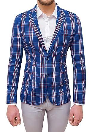 prezzo competitivo 76799 d7538 Giacca Uomo Sartoriale Blu Rosso Quadri in Cotone Slim Fit ...