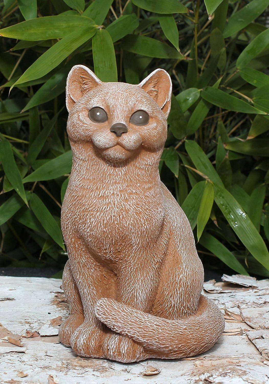 Deko Stein Steinfigur Katzen 2er Set Figur Frostsicher Terrakotta Garten