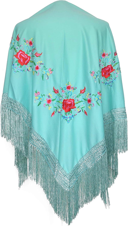 La Señorita Mantones bordados Flamenco Manton de Manila azul verde con flores de colores diferentes triángulo