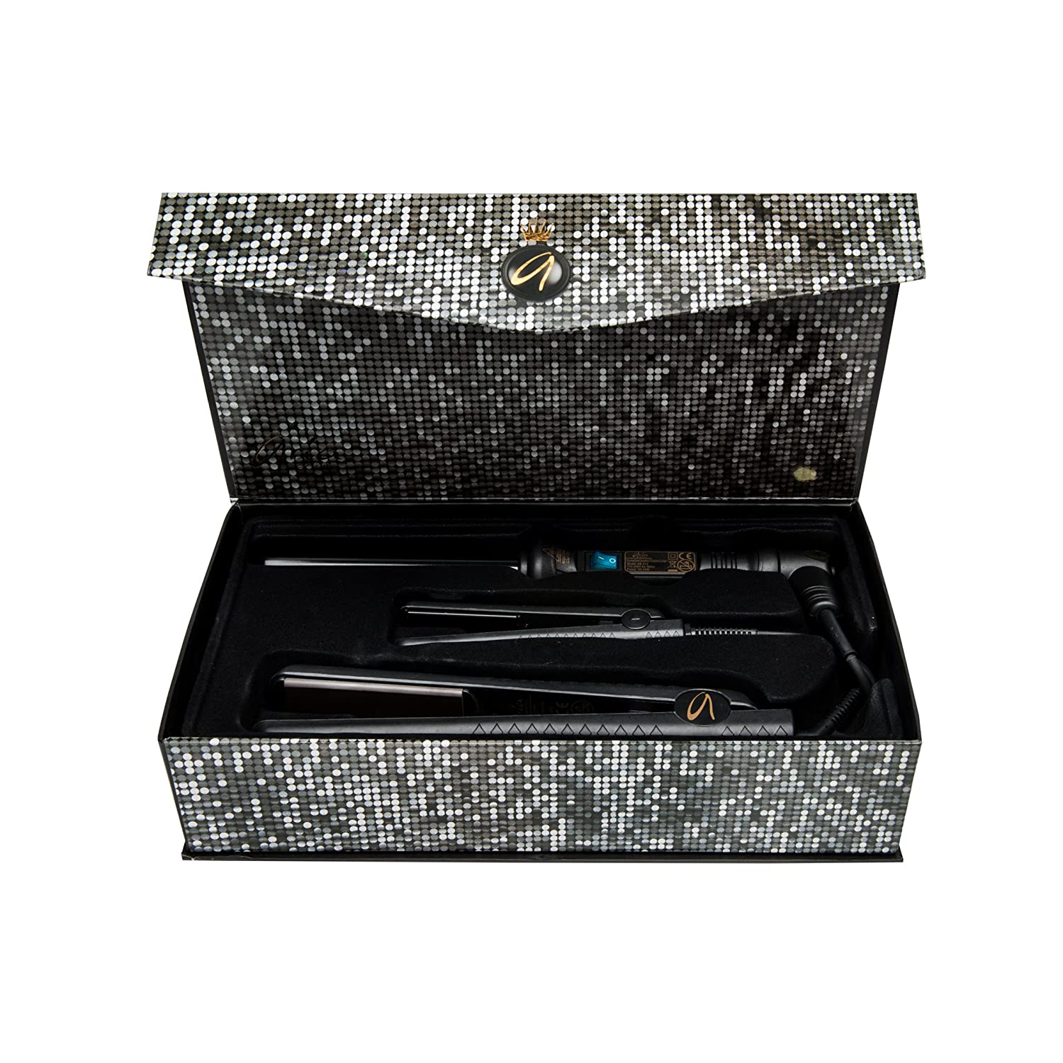 Aria Beauty - Allure Beauty Box Black - Juego comprensivo de mini placa de cerámica, placa de cerámica y rizador 19 mm color negro - garantía de vida: ...