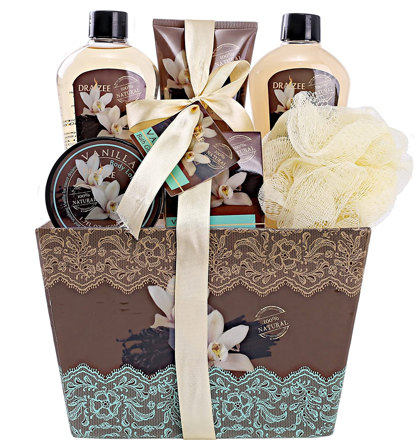 """Spa Basket for Women w/Refreshing """"Seductive Vanilla"""" Fragrance by Draizee- #1 Best Gift for Christmas – Luxury Bath & Body Set Includes 100% Natural Cream's Lotion's & Much More!"""