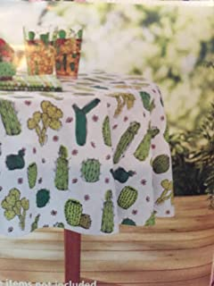 Cactus Theme Vinyl Tablecloth For Texas Western Garden Succulent Floral  Green Cacti Desert Unique Fun Party