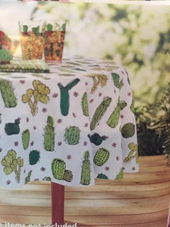 Cactus Theme Vinyl Tablecloth For Texas Western Garden Succulent Floral  Green Cacti Desert Unique Fun Party