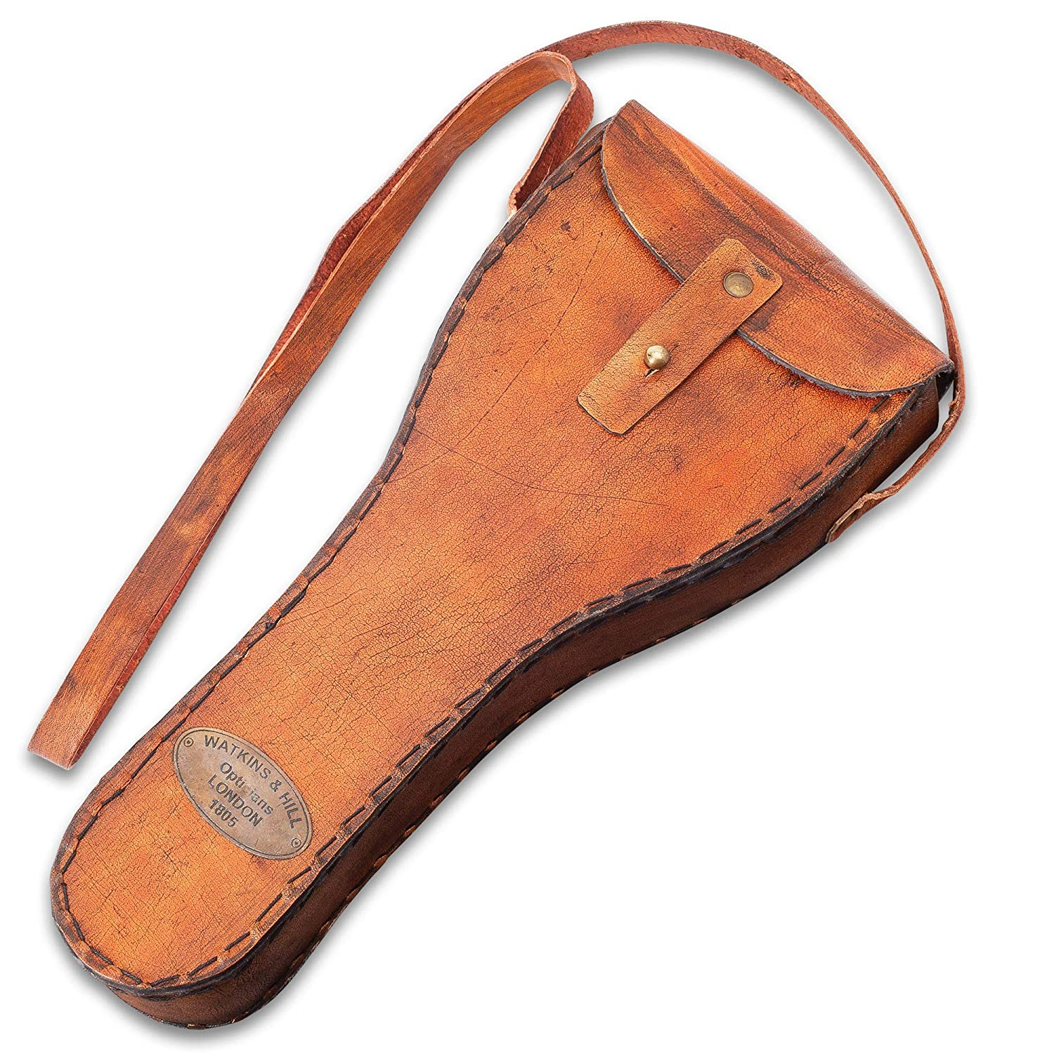 K EXCLUSIVE Antique Magnifying Glass with Leather Case Brass Construction Length 9 1//4 Genuine Leather Grip