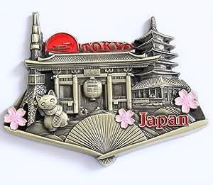 Japan Tokyo Metal Fridge Magnet Unique Design Home Kitchen Decorative Travel Holiday Souvenir Gift, Stick Up Your Lists Photos on Refrigerator
