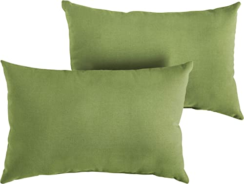 1101Design Sunbrella Spectrum Cilantro Knife Edge Decorative Indoor Outdoor Rectangle Lumbar Pillow, Perfect for Patio Decor – Cilantro Green 14 x 24 Set of 2