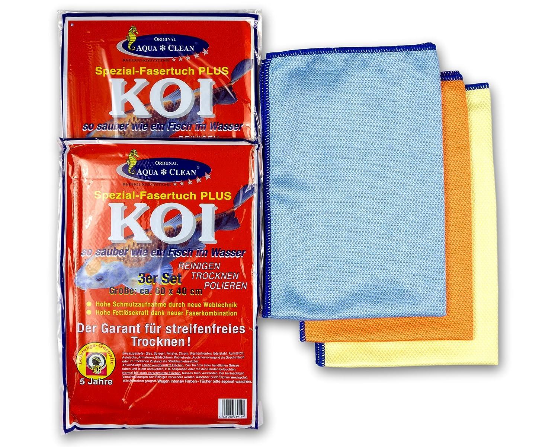 Aqua Clean, Koi, panno in microfibra per la pulizia dei vetri, 60 x 40 cm, 6 pezzi (2 set da 3 pezzi) 60x 40cm 6pezzi (2 set da 3 pezzi)