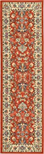 Unique Loom Kashan Collection Traditional Floral Overall Pattern with Border Terracotta Runner Rug (2' 7 x 10' 0)