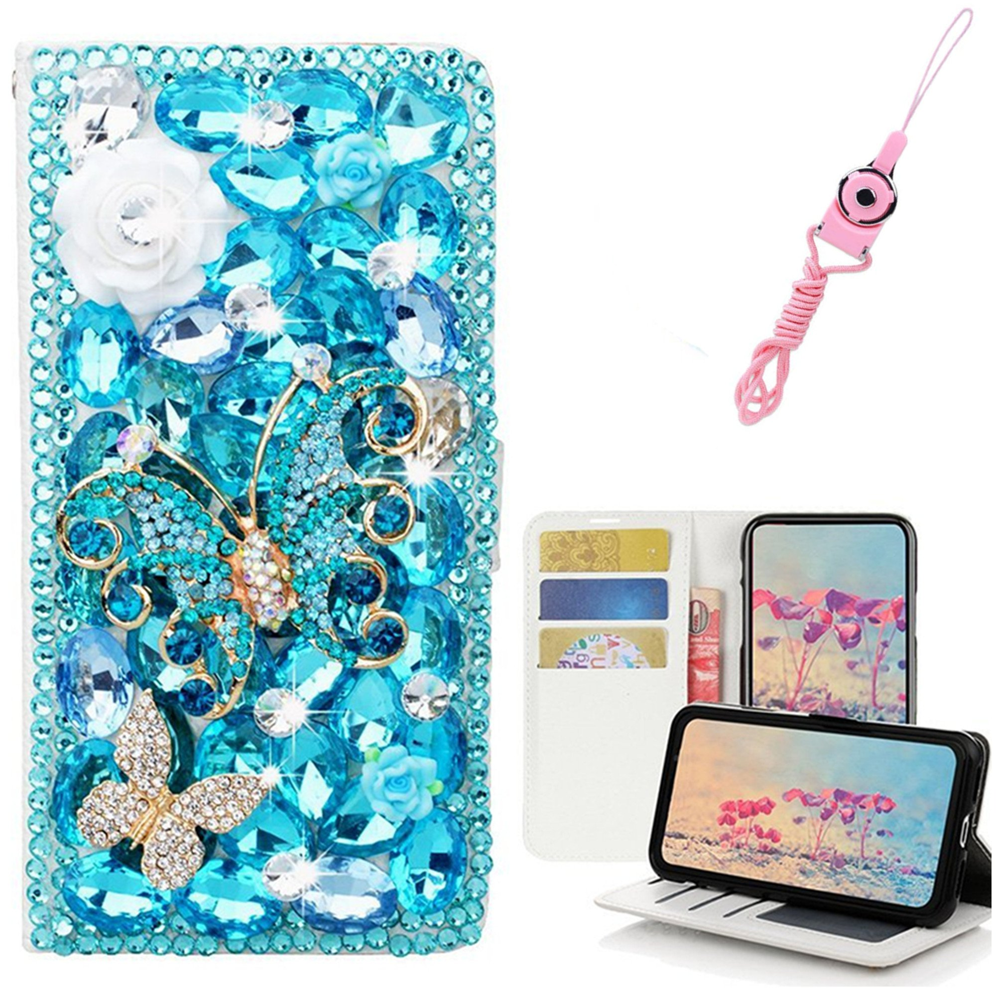 EVTECH LG Stylo 3 Case with Lanyard Neck Strap, [Stand Feature] Butterfly Crystal Wallet Case Premium [Bling Luxury] PU Leather Flip Cover [Card Slots] For LG Stylo 3 Plus