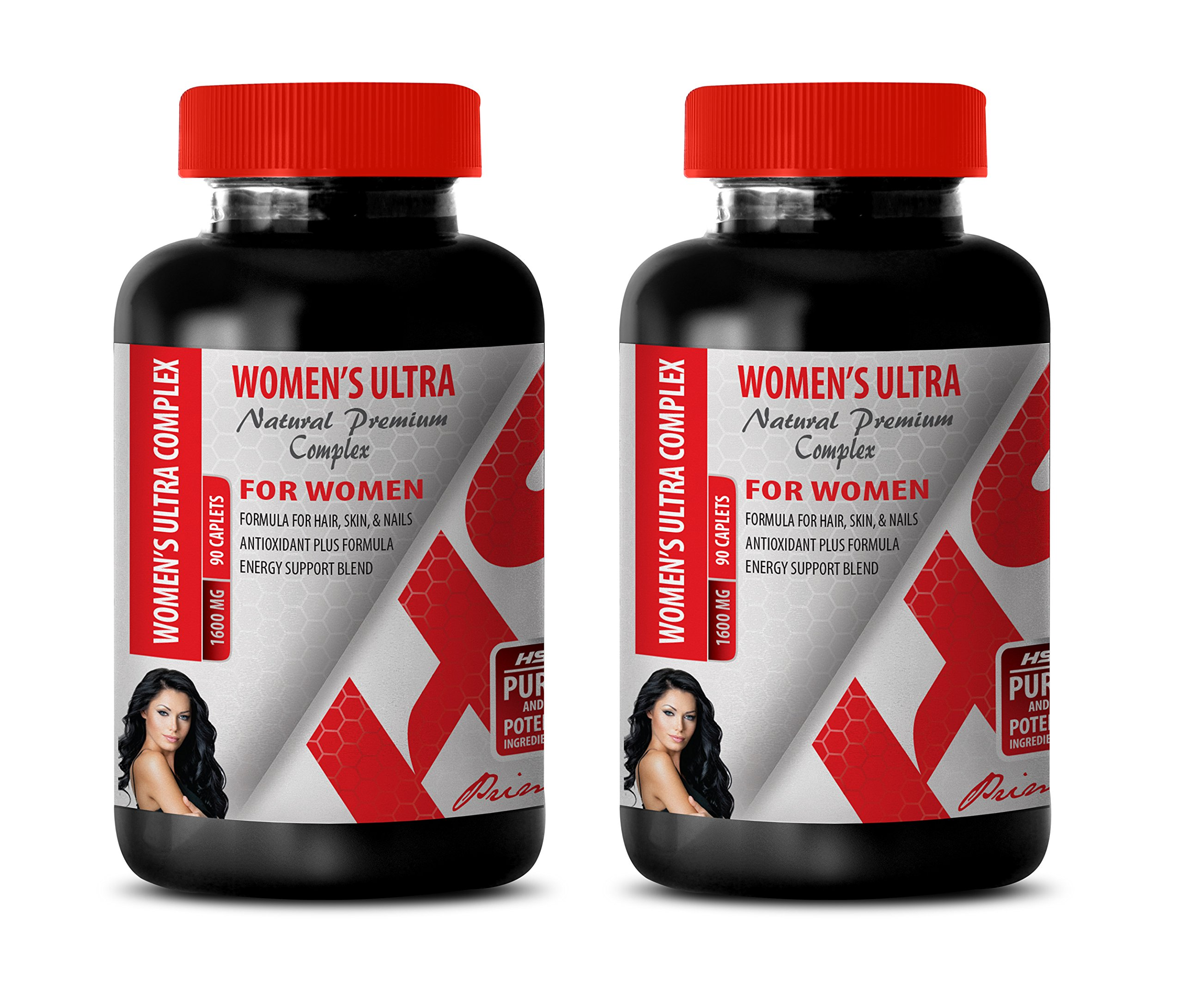 Energy Booster for Women - Women's Ultra Natural Premium Complex 1600 mg - Multivitamin for Women with Collagen - 2 Bottles 180 Caplets