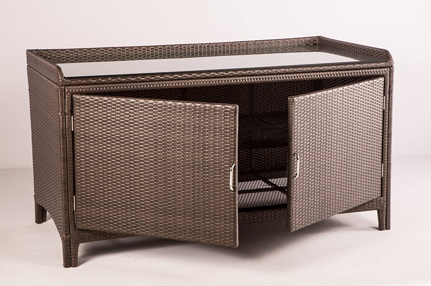 Amazon.com : Alfresco Home All Weather Wicker Outdoor Sideboard Console  Storage Table : Patio Tables : Garden U0026 Outdoor