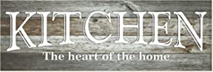 Kitchen The Heart of The Home Rustic Wood Wall Sign 6x18 (Gray)