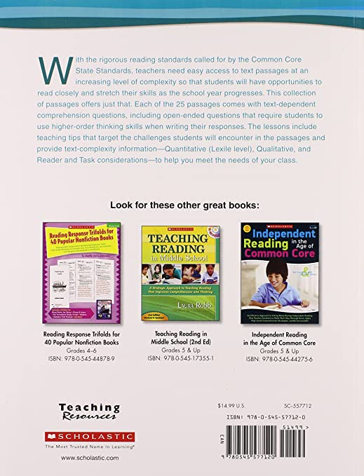 25 Complex Text Passages to Meet the Common Core: Literature and ...