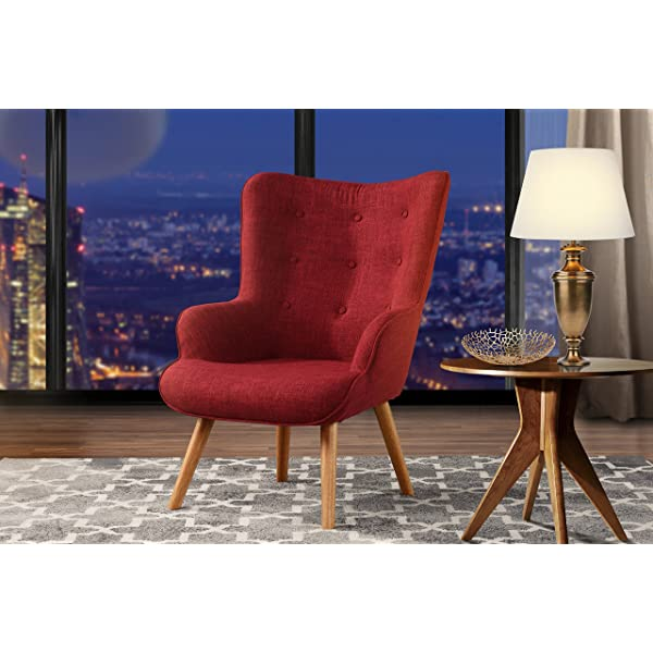 Accent Chair for Living Room, Upholstered Linen Arm Chairs with Tufted Button Detailing and Natural Wooden Legs (Red)
