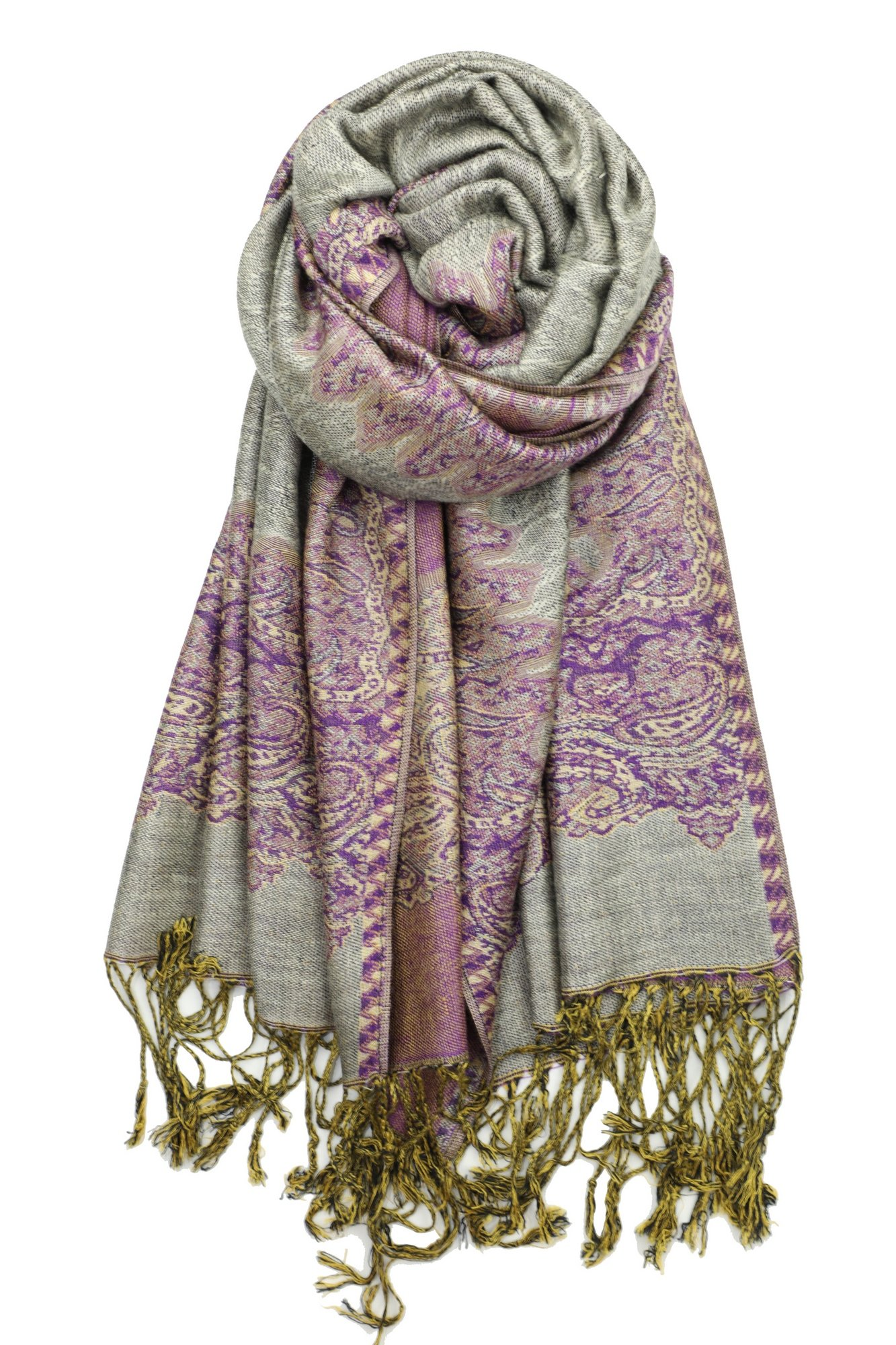 Achillea Elegant Reversible Paisley Border Pattern Pashmina Shawl Wrap Scarf (Grey Purple)