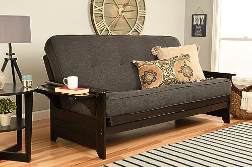 Kodiak Furniture Phoenix Futon Set with Espresso Finish, No Drawers, Linen Charcoal Mattress