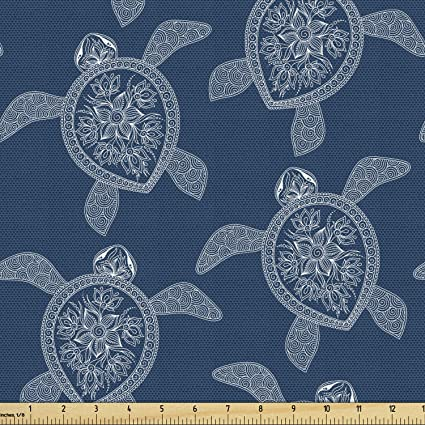 Lunarable Mandala Turtle Fabric By The Yard Bohemian Pattern With Abstract Turtle In Oriental Style Decorative Fabric For Upholstery And Home Accents Night Blue And White