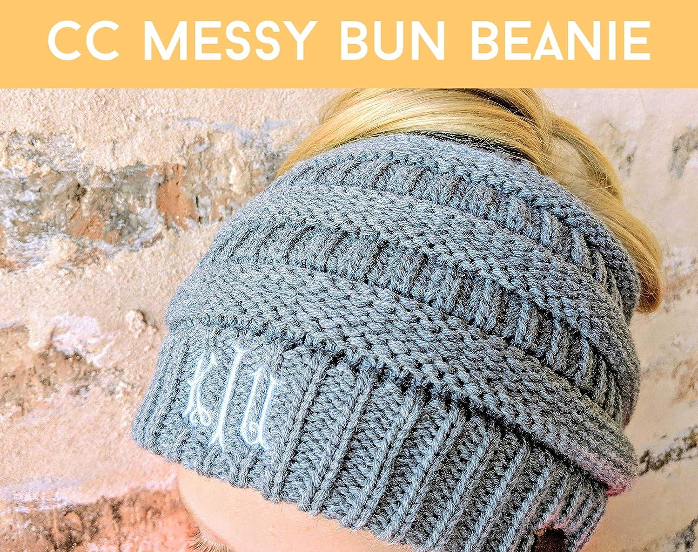 Loaded Lids Customized Women S Monogrammed Cc Messy Bun Beanie Monogrammed Cc Beanie Messy Bun Beanie Handmade Cjp Org In