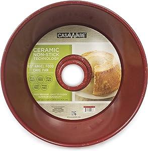 casaWare Angel Food Cake Pan 9.5-inch (15-Cup) Ceramic Coated NonStick (Red - Granite)