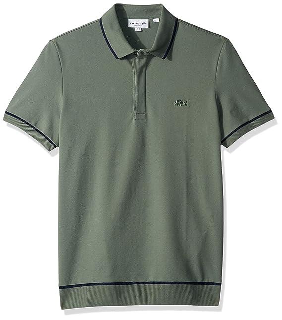2fa851ac1c Lacoste Mens S/S Print Mini Pique Stretch Polo Shirt: Amazon.ca ...