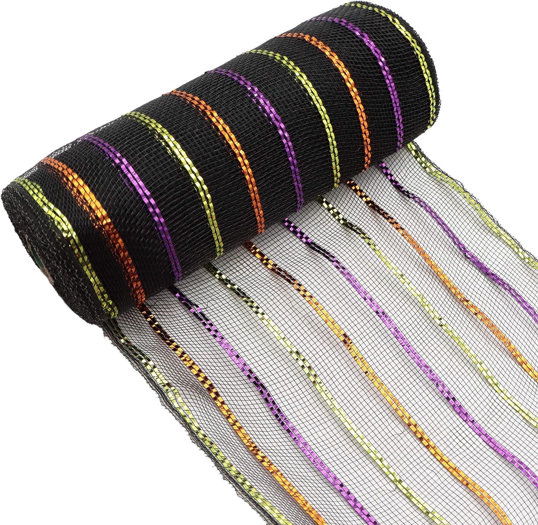 David angie Deco Poly Mesh Ribbon Metallic Black Colorful Stripe Foil Mesh Ribbon 10 Yards/Roll 26.5cm/10.4 Inch for Wreath Bows Making Tree Decor (Black)