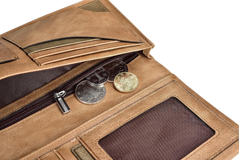 Portafoglio, ICARER [100% vera pelle] raccoglitore di affari, slot per Multi -carta, telefono cellulare compatibile, Zip Pocket Coin, affari e titolare  ...