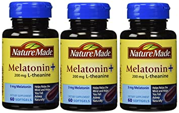 Amazon.com : Nature Made Melatonin+ 200mg L-Theanine Dietary Supplement Liquid Softgels - 60 CT (Pack of 3) : Medicinal Sleep Aids : Beauty
