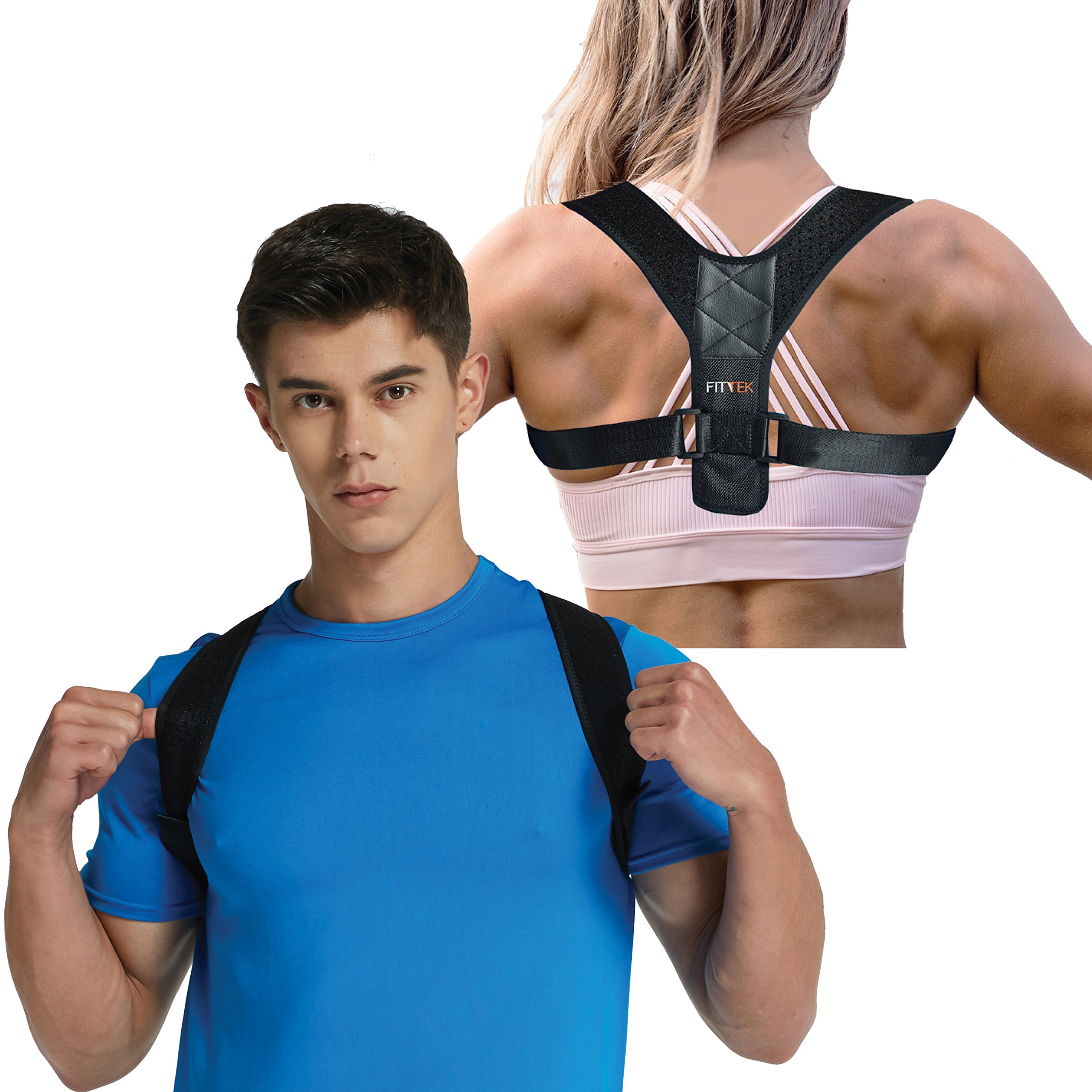 Posture Corrector Brace for Men and Women Kyphosis Back Shoulder Support by FitTek