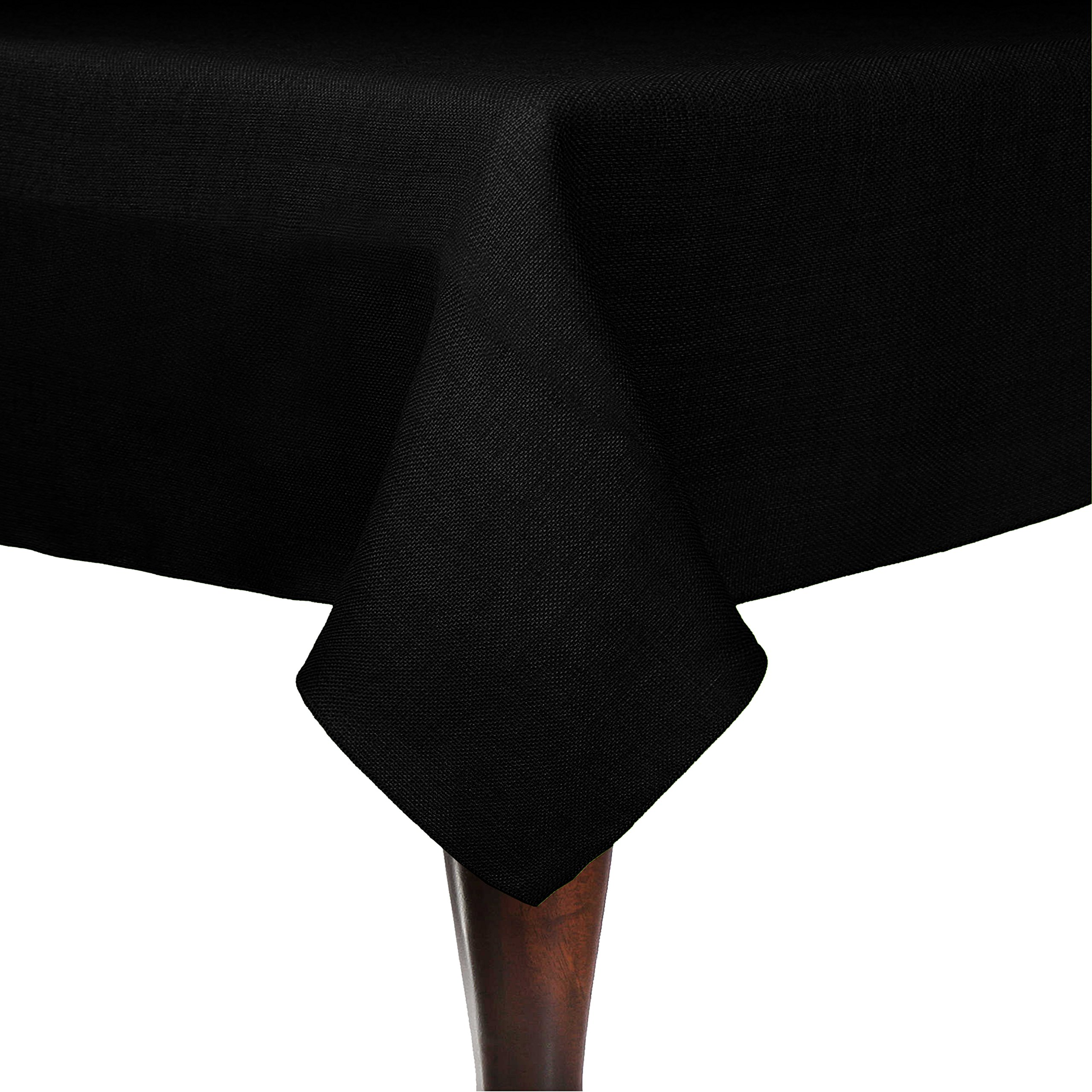 Ultimate Textile (3 Pack) Faux Burlap - Havana 60 x 120-Inch Rectangular Tablecloth - Basket Weave, Black