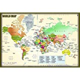 Indian political map hindi vinyl print size 48 h x 3992 w world political map hd pixel on hi quality paper 24x36 print gumiabroncs Images