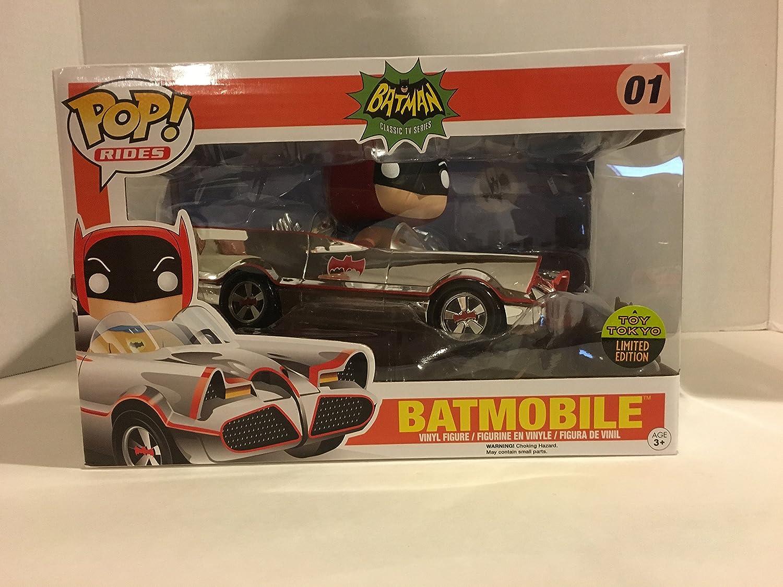 DC Comics POP Rides Vinyl Vehicle with Figure 66 Chrome Batmobile SDCC 2016 Exclusive 12 cm Funko Mini figures