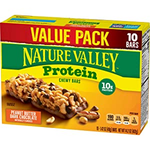 Nature Valley Protein Bar, Gluten Free, Granola Bar, Peanut Butter Dark Chocolate 10 Bars, 14.2 Ounce (Pack of 1)